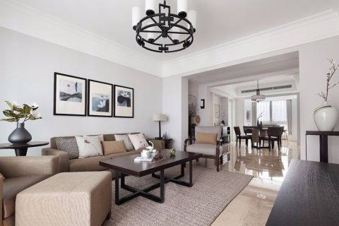 长虹和悦府白色90平米欧式两室一厅装修设计效果图