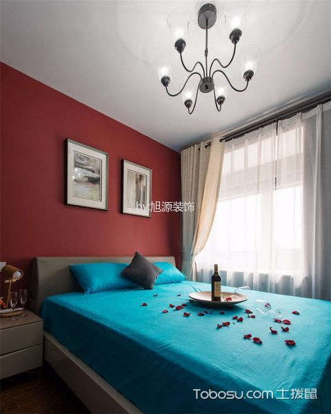 卧室白色窗帘混搭风格装饰设计图片