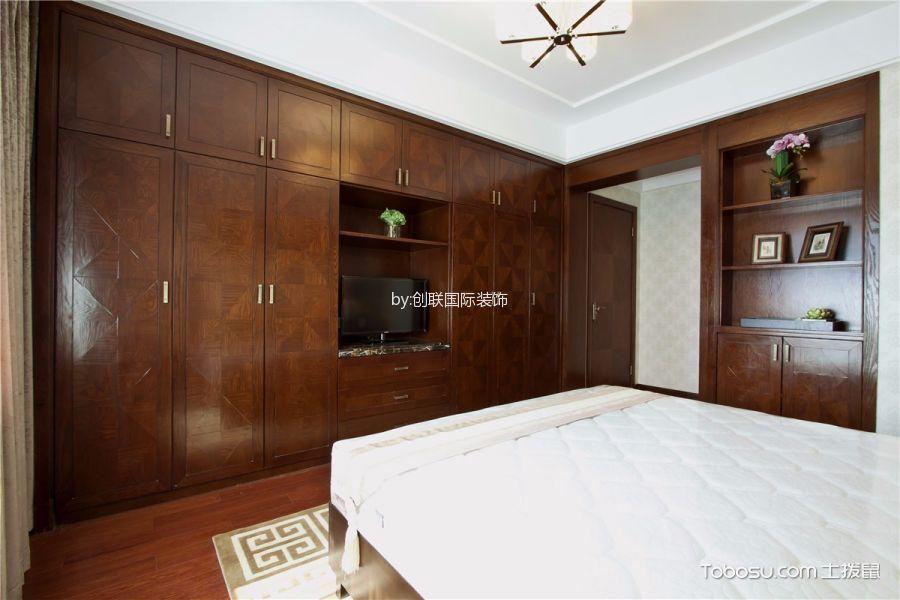 卧室咖啡色地板砖新中式风格装饰图片