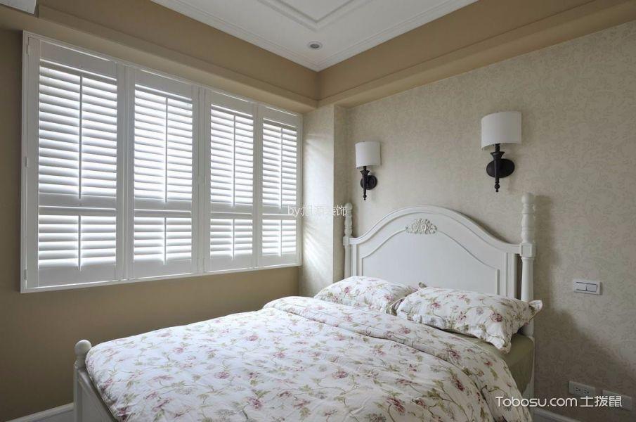 卧室灰色背景墙田园风格装修图片