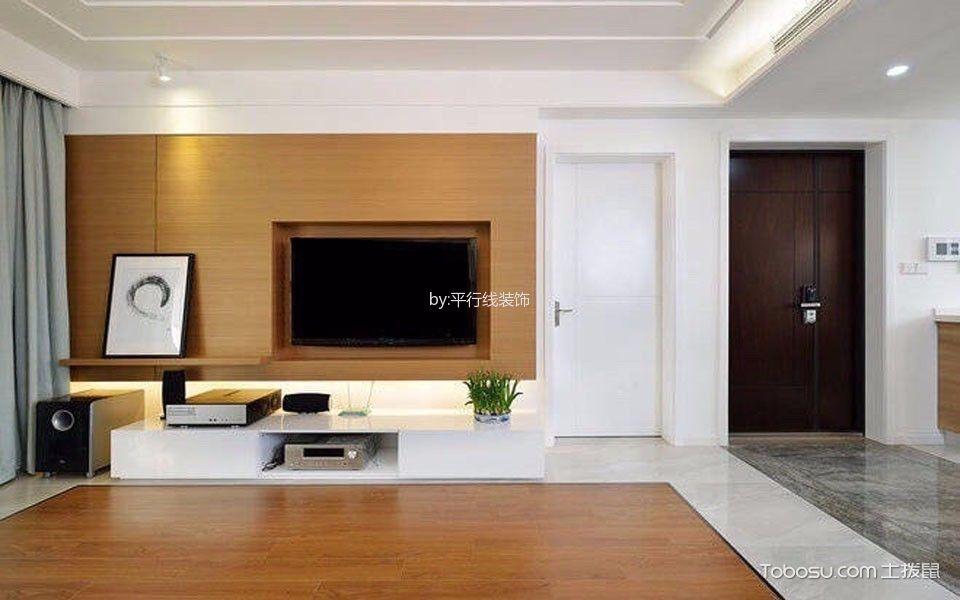 客厅白色电视柜北欧风格装修图片
