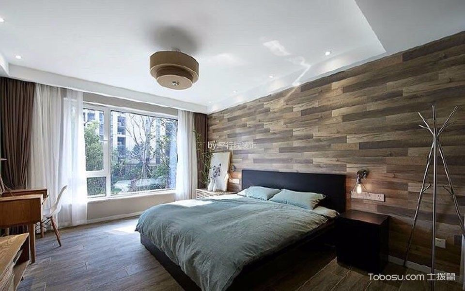 卧室黑色床北欧风格装修效果图