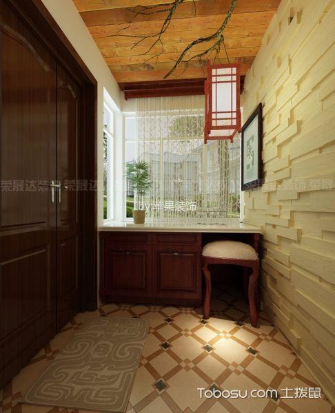 玄关黄色吊顶美式风格装饰设计图片
