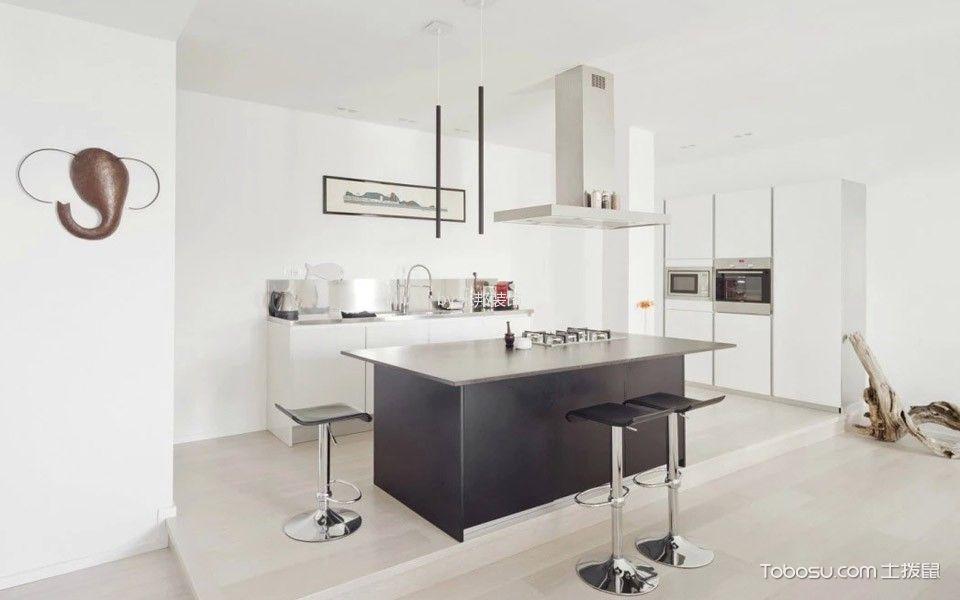 厨房黑色厨房岛台北欧风格装饰图片