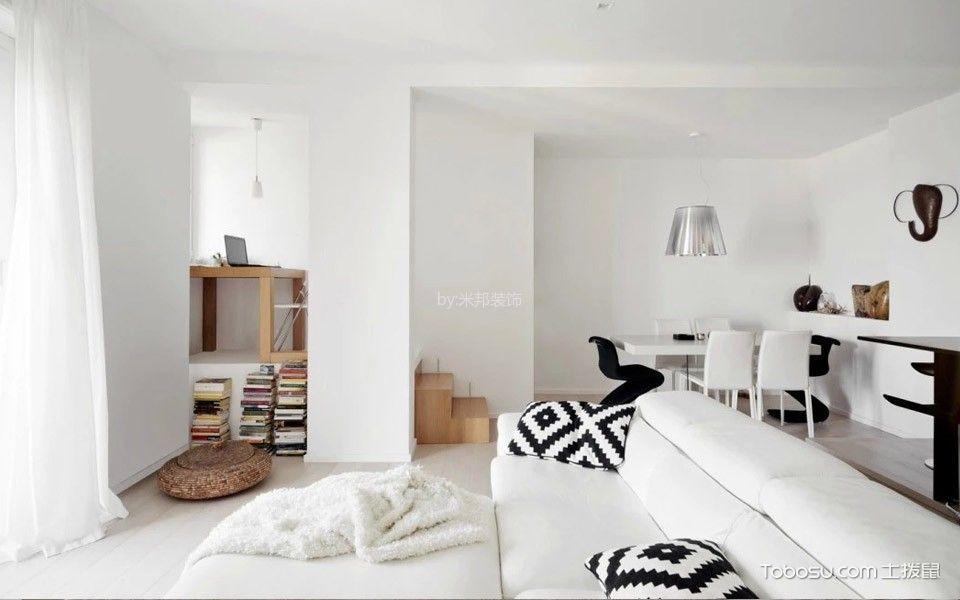 客厅白色窗帘北欧风格装修设计图片