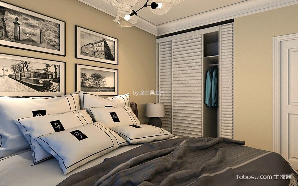 卧室黄色照片墙现代简约风格装潢图片