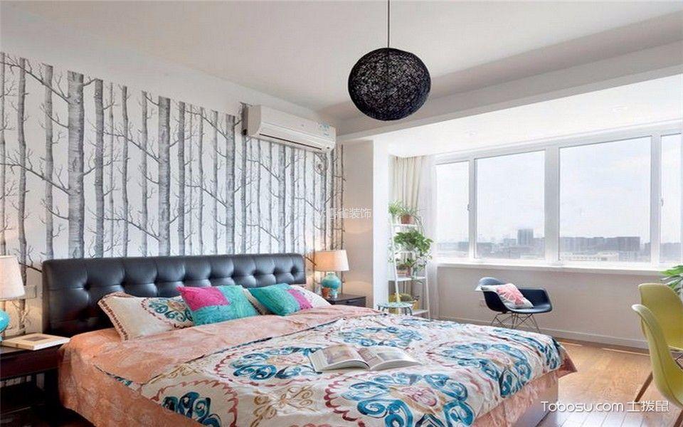 卧室白色窗帘北欧风格装修设计图片