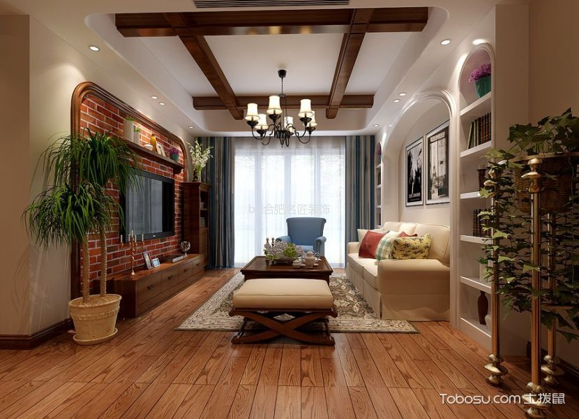 客厅咖啡色电视柜美式风格装潢效果图