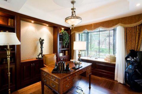 书房窗帘美式风格装修效果图