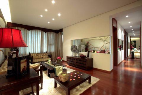 客厅窗帘东南亚风格装潢设计图片