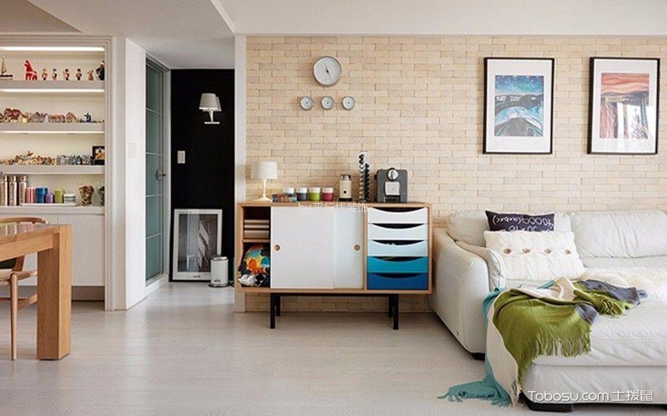 客厅咖啡色照片墙北欧风格装修图片