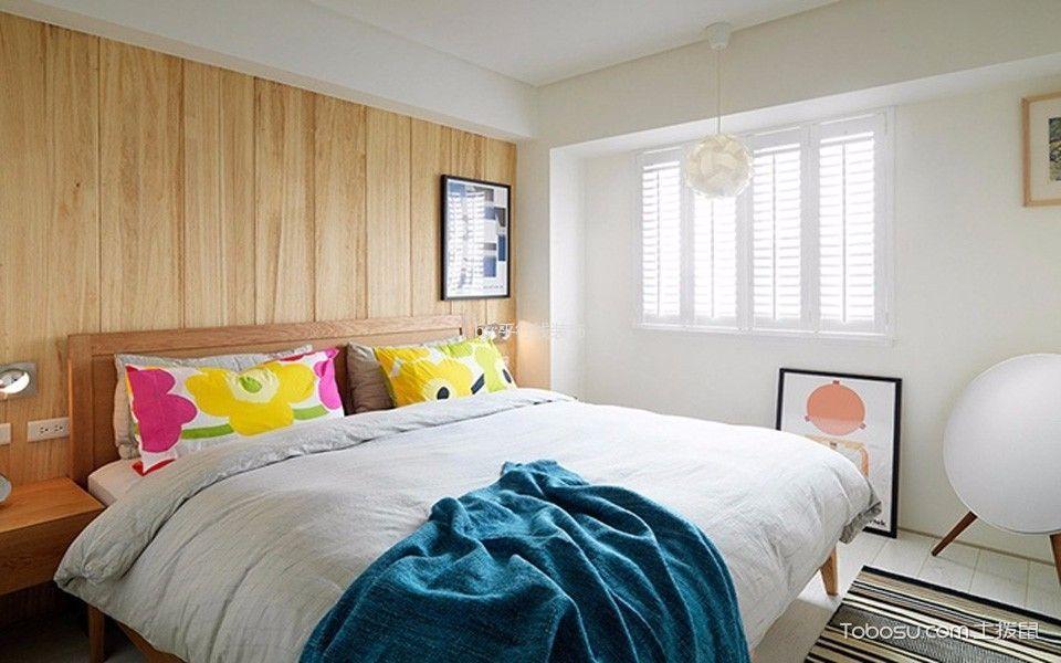 卧室咖啡色床北欧风格装潢图片