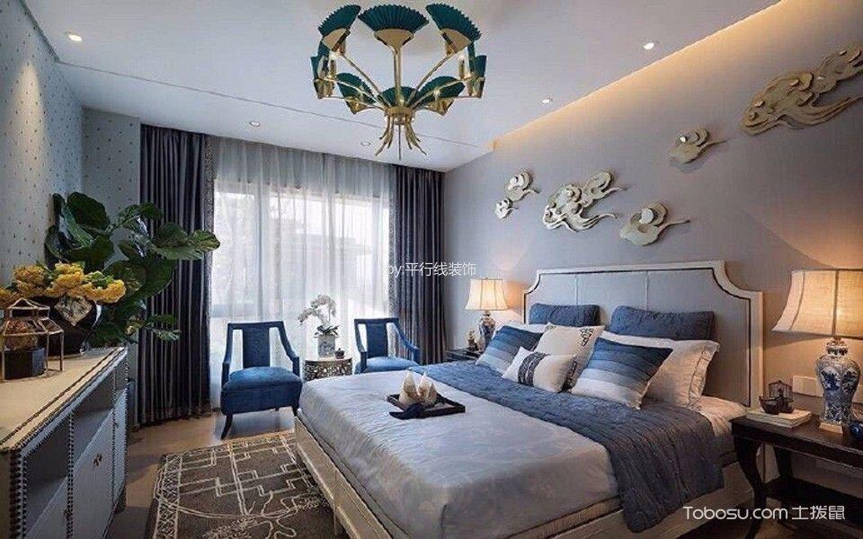 卧室灰色床新中式风格效果图