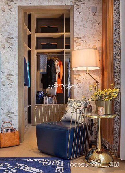 卧室橙色窗帘新中式风格装修效果图