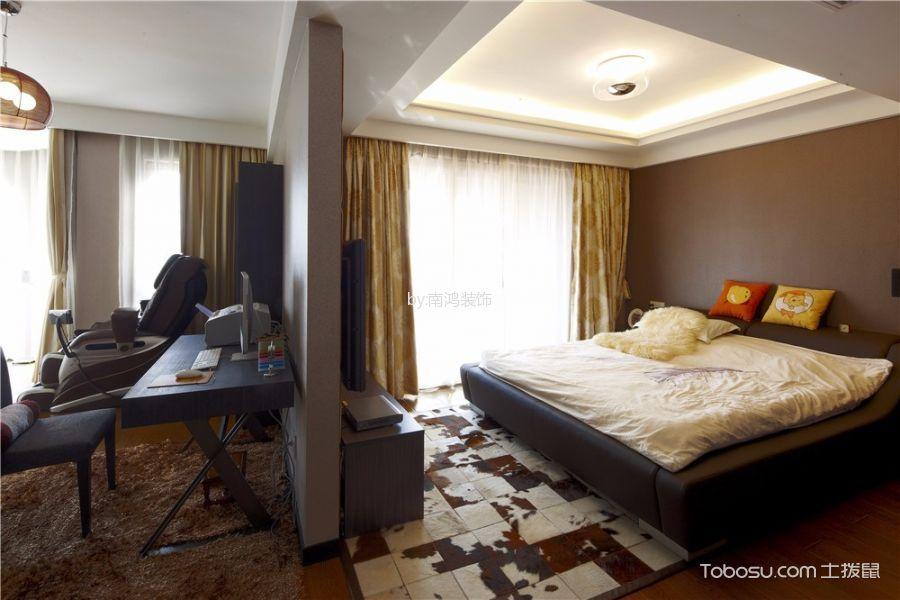 卧室咖啡色床后现代风格装潢设计图片
