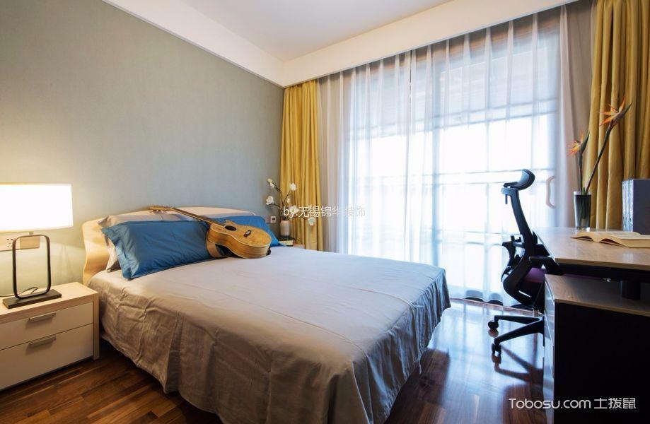 卧室黄色窗帘新中式风格装修设计图片