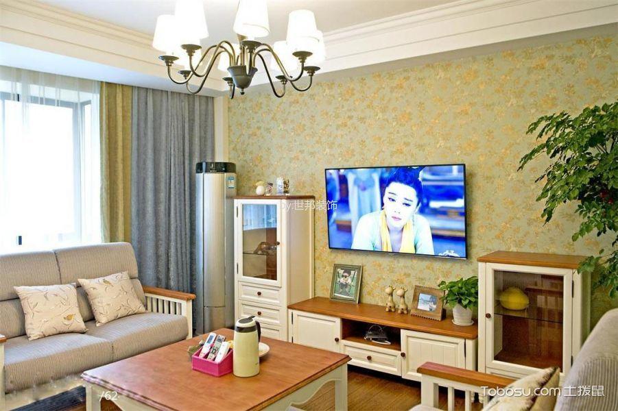 客厅白色电视柜地中海风格装潢效果图