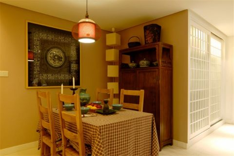 餐厅背景墙日式风格装潢效果图