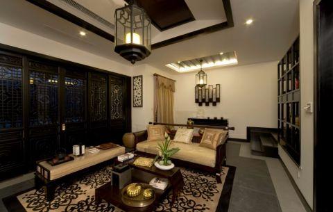 中式风格130平米三室两厅室内装修效果图