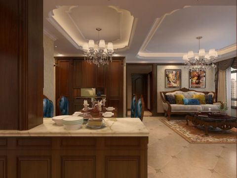 田园风格130平米三室两厅室内装修效果图
