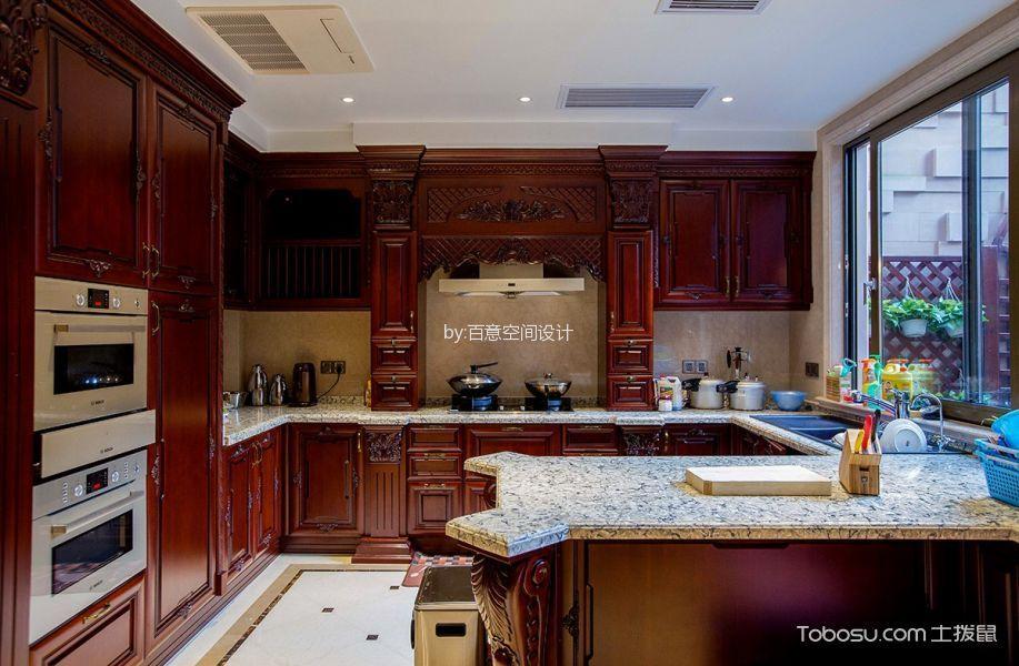 厨房咖啡色橱柜法式风格装修图片