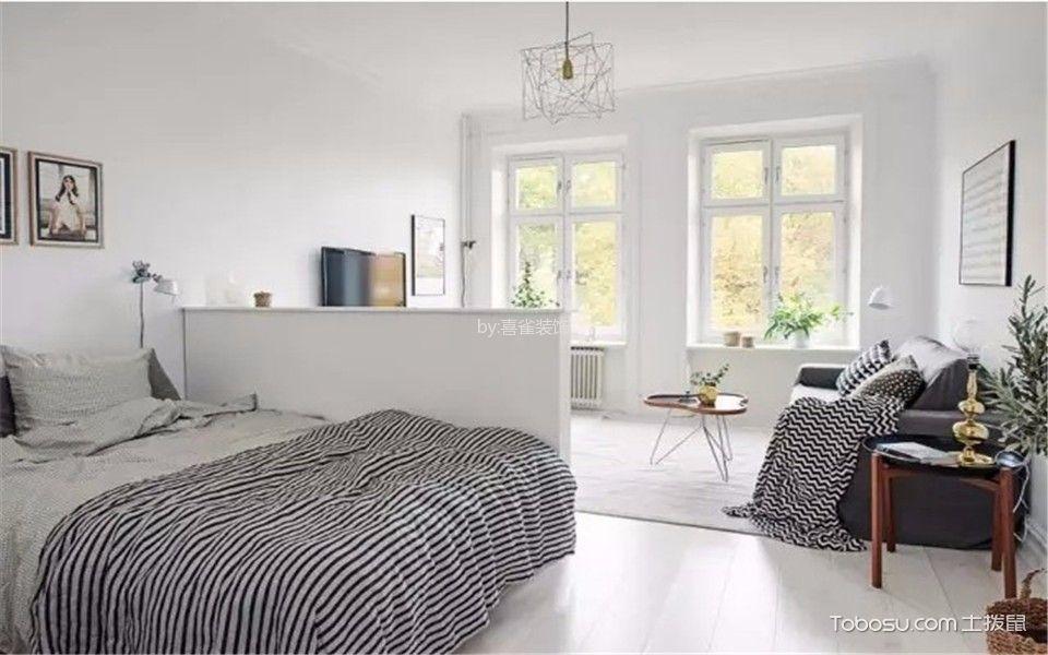 卧室白色照片墙现代简约风格效果图
