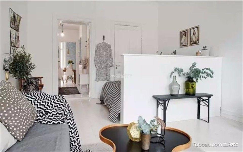 客厅白色地砖现代简约风格装修效果图