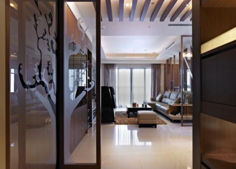 客厅窗帘日式风格装修设计图片