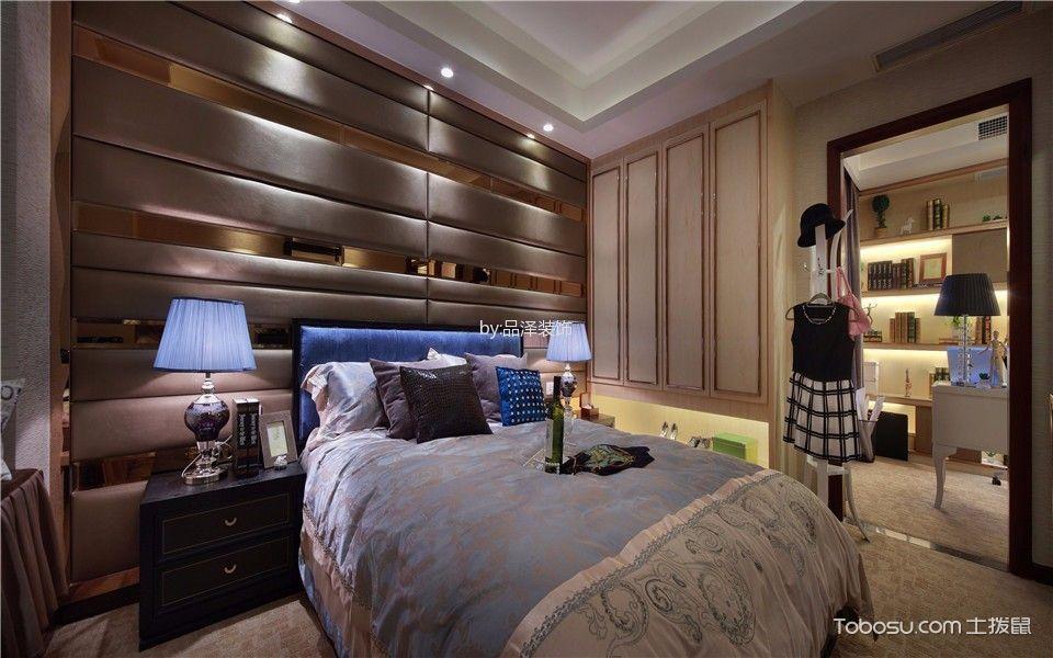 卧室蓝色床简欧风格装潢效果图