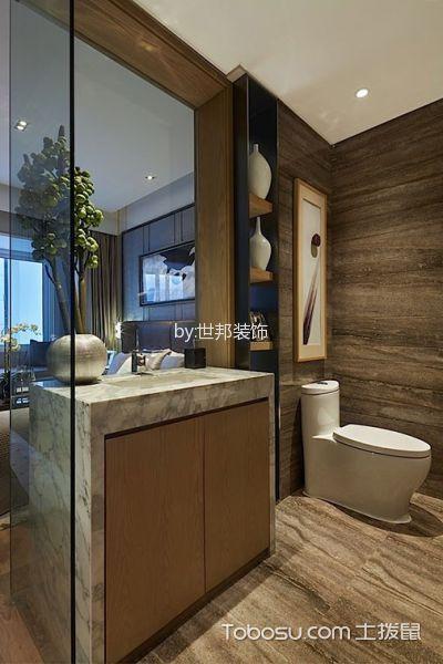 卫生间咖啡色地板砖现代风格装修效果图