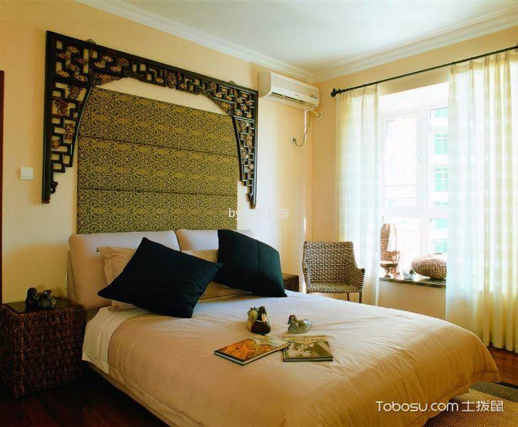 卧室米色床新中式风格装饰设计图片