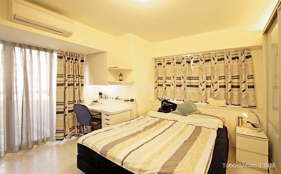 卧室彩色窗帘北欧风格装潢设计图片