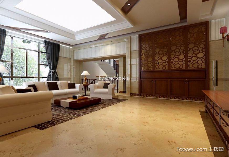 客厅黄色地砖新中式风格装饰效果图