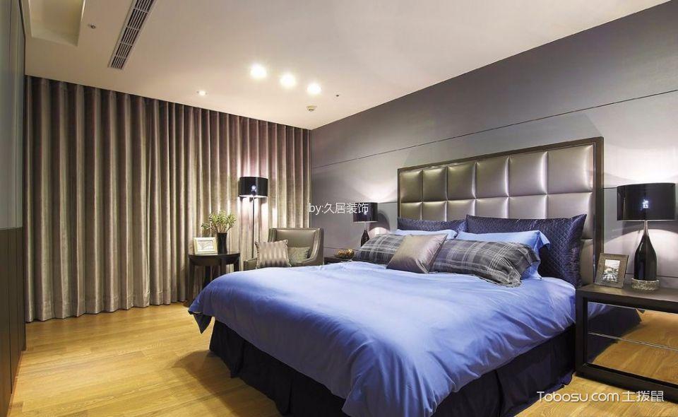 卧室灰色床后现代风格装饰图片