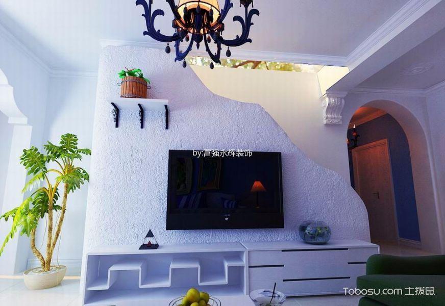 客厅白色电视柜地中海风格装潢设计图片