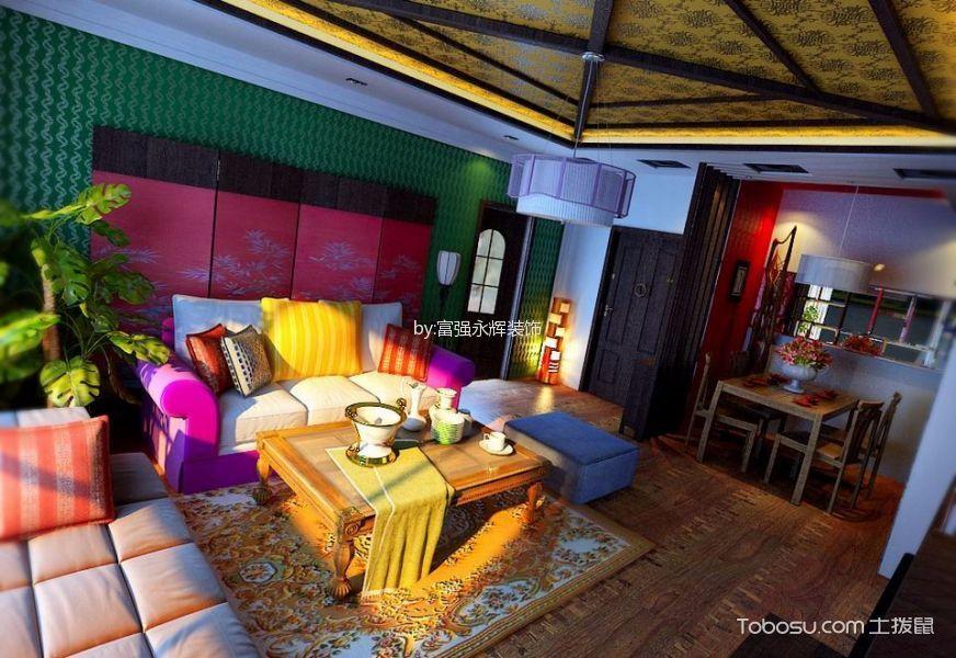 客厅咖啡色地板砖混搭风格装潢效果图