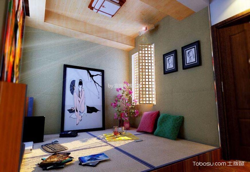卧室绿色照片墙混搭风格装饰设计图片
