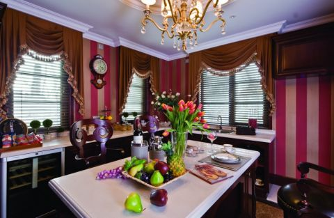 美式厨房窗帘装修案例