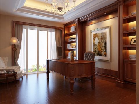 书房书桌简欧风格装饰效果图