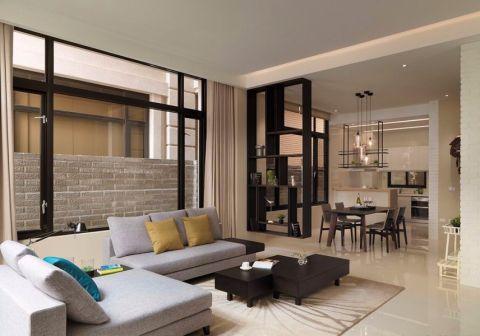 现代简约风格89平米三室两厅室内装修效果图