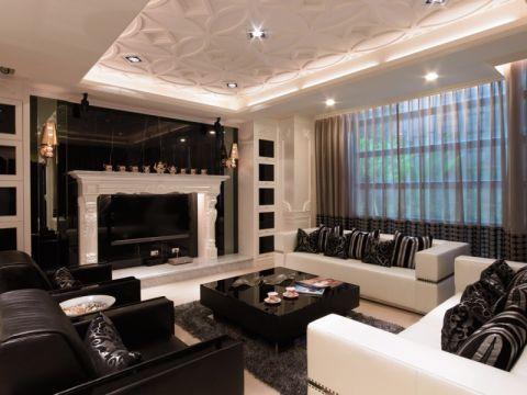 后现代风格90平米三室两厅新房装修效果图