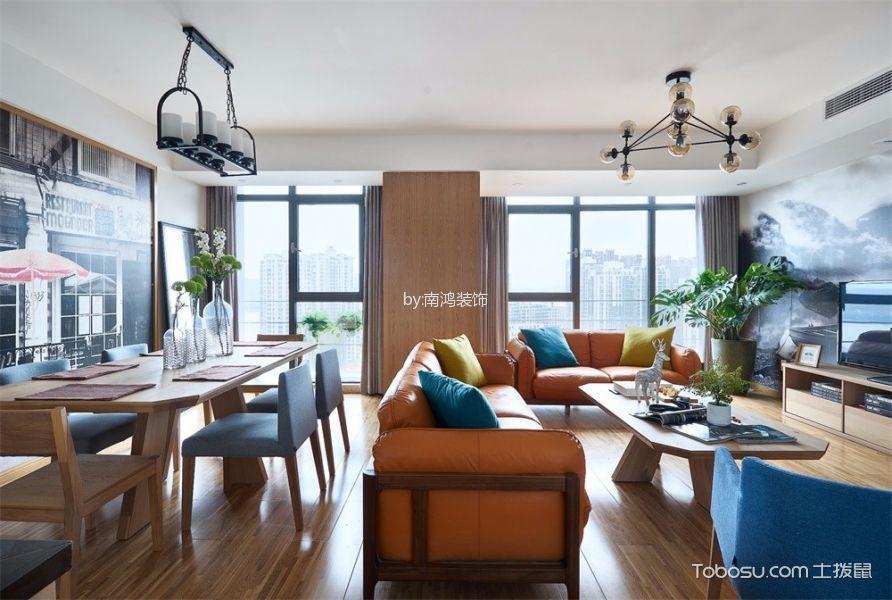 客厅白色吊顶北欧风格装潢图片