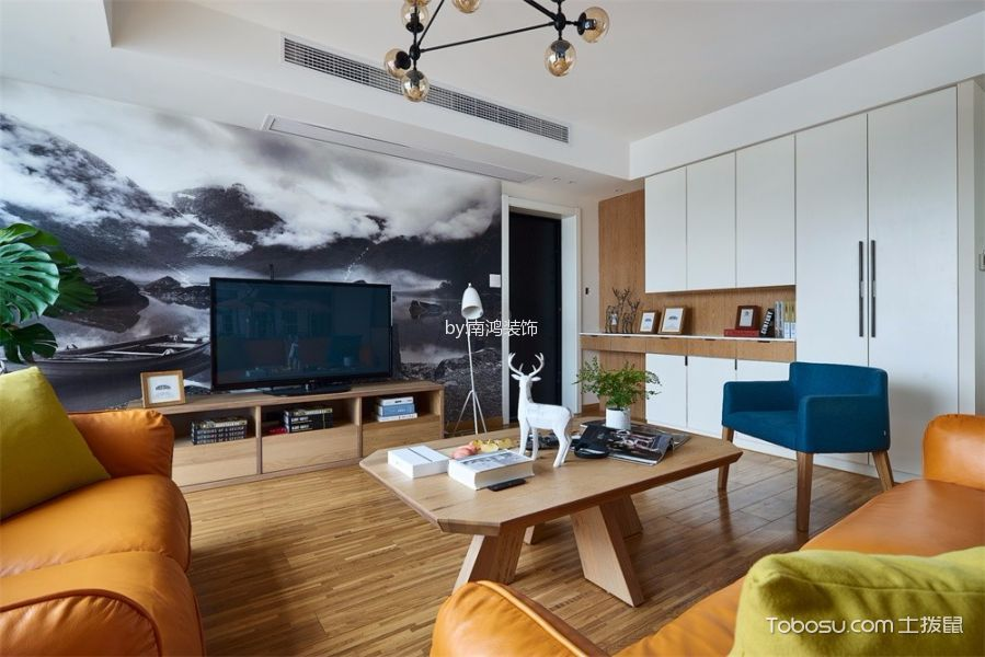 客厅黄色电视柜北欧风格装修设计图片