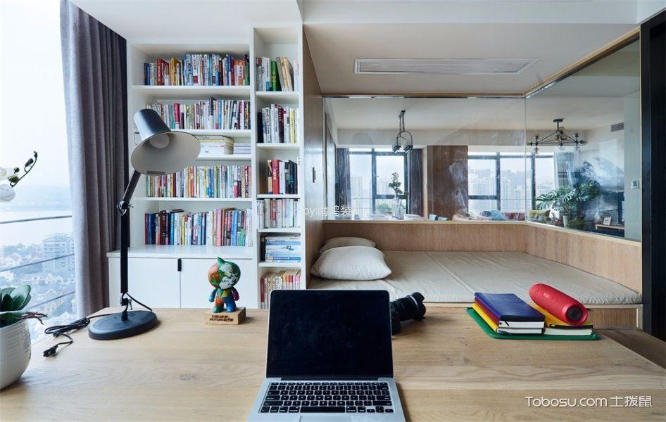 书房黄色书桌北欧风格装修效果图