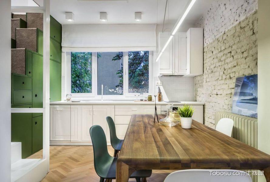 厨房咖啡色餐桌现代风格装修效果图