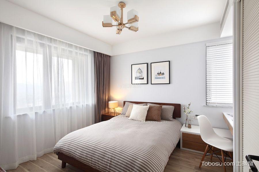 卧室咖啡色窗帘日式风格装潢效果图