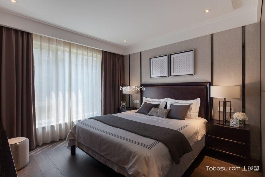 卧室咖啡色床混搭风格装潢设计图片