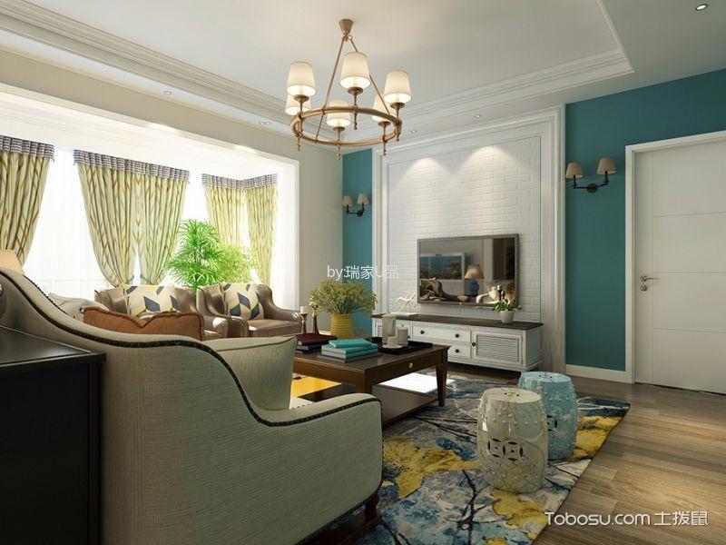 客厅白色吊顶田园风格装饰图片