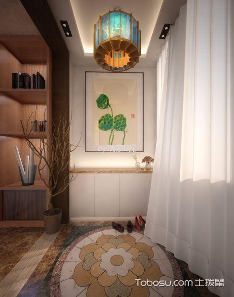阳台彩色地砖新中式风格装饰效果图