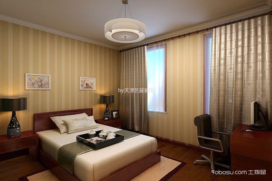 卧室黄色窗帘混搭风格装潢效果图